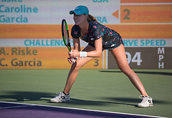 March 22, 2018 - Miami, Florida, United States - Alison Riske, from the US, in action against Caroline Cargia, from France during her first round macth at the Miami Open  on March 23, 2018 in Key Biscayne, Florida. Riske took the match in two sets 6-3, 6-1 (Credit Image: © Manuel Mazzanti/NurPhoto via ZUMA Press)