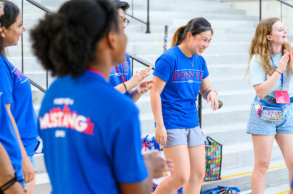 First year students participate in Stampede's Every Mustang Will Be Valued, Saturday, August 21, 2021 in the McFarlin Memorial Auditorium on the SMU Campus. Afterwards the students broke into small groups for further discussion and games.