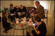 ANNA KOORIS; JANE SUITOR; ; JAMES FRANCO; HANS ULRICH OBRIST;LORDENZA BARONCELLI  James Franco exhibition 'Fat Squirrel' at Siegfried Contemporary, Basset Rd, London W10. 23 November 2014.