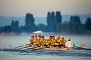 Women's eights rowing team in action.