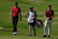 Ross Fisher (ENG) and Thomas Detry (BEL) on the 9th during Round 3 of the Oman Open 2020 at the Al Mouj Golf Club, Muscat, Oman . 29/02/2020<br /> Picture: Golffile   Thos Caffrey<br /> <br /> <br /> All photo usage must carry mandatory copyright credit (© Golffile   Thos Caffrey)