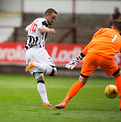 Dunfermline's Ryan Wallace scoring their sixth goal. <br /> Dunfermline 7 v 1 Cowdenbeath, SPFL Ladbrokes League Division One game played 15/8/2015 at East End Park.