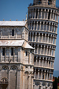 Leaning Tower, or bell tower, and the Pisa Baptistry, Pisa, Italy
