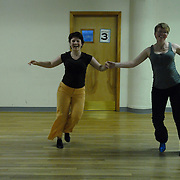 Same-sex ballroom dancers Jo Vaughan, left, of Hertfordshire, England, and Julia Smailes, of London, England, practice their latin dance routines at Stepping Out Studios in Manhattan on May 3, 2007, in preparation for the 5 Boro Dance Challenge, held at the Park Central Hotel in Manhattan from May 4-6, 2007. ..The locally produced 5 Boro Dance Challenge, New York City's first major same-sex dance competition, was held at the Park Central Hotel in Manhattan from May 4-6, 2007. ..The women train at Studio LaDanza, a lesbian-owned dance school in London. ..