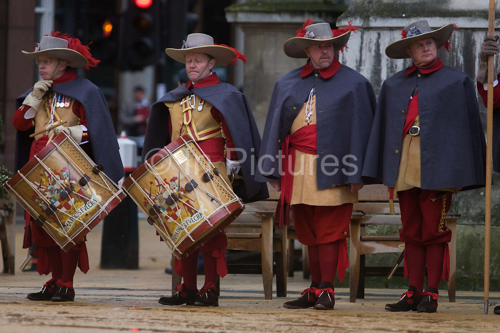 Pikemen in the Guildhall courtyard await the arrival of the new Lord Mayor of London before the start of the annual procession for the new Mayor. Alderman and Rt Hon The Lord Mayor of London, Roger Gifford, an ex-financier with Swedish bank SEB is the 685th in the City of London's ancient history. The new Mayor's procession consists of a 3-mile, 150-float parade of commercial and military organisations going back to medieval times. This is the oldest and longest civic procession in the world that has survived the Plague and the Blitz, today one of the best-loved pageants. Henry Fitz-Ailwyn was the first Lord Mayor (1189-1212) and ever since, eminent city fathers (and one woman) have taken the role of the sovereign's representative in the City – London's ancient, self-governing financial district.