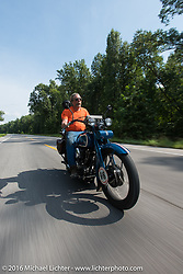Fred Lange riding his 1929 Harley-Davidson JDH during Stage 5 of the Motorcycle Cannonball Cross-Country Endurance Run, which on this day ran from Clarksville, TN to Cape Girardeau, MO., USA. Tuesday, September 9, 2014.  Photography ©2014 Michael Lichter.