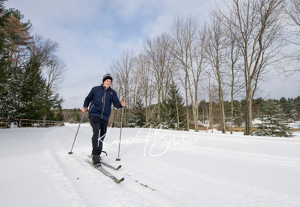 Calvin Roberts of Meredith takes a classic ski around the 10 km cross country ski trails at Bolduc Park on Friday following our first substancial snowfall of the season.  (Karen Bobotas/for the Laconia Daily Sun)