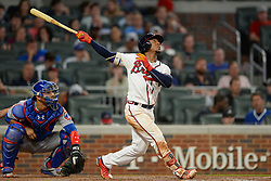 May 15, 2018 - Atlanta, GA, U.S. - ATLANTA, GA Ð MAY 15:  Braves infielder Ozzie Albies (1) drives a ball deep to the outfield during the game between Atlanta and Chicago on May 15th, 2018 at SunTrust Park in Atlanta, GA. The Chicago Cubs beat the Atlanta Braves by a score of 3 Ð 2.  (Photo by Rich von Biberstein/Icon Sportswire) (Credit Image: © Rich Von Biberstein/Icon SMI via ZUMA Press)