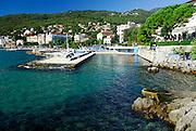 Lido area with town in background. Opatija, Croatia