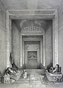 Interior of a tomb. Lithograph after Jules Goury (1803-1834) French Architect. On either side  a man is reclining on a divan and smoking a hookah. Ancient Egypt