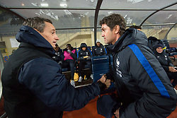 Sylvain Ripoll, head coach of France and Primoz Gliha, head coach of Slovenia during football match between National teams of Slovenia and France in UEFA European Under-21 Championship Qualification, on November 13, 2017 in Domzale, Slovenia. Photo by Vid Ponikvar / Sportida