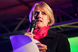 London, UK. 15th January, 2019. Gill Walton, Chief Executive of the Royal College of Midwives (RCM), addresses pro-EU activists attending a People's Vote rally in Parliament Square as MPs vote in the House of Commons on Prime Minister Theresa May's proposed final Brexit withdrawal agreement.