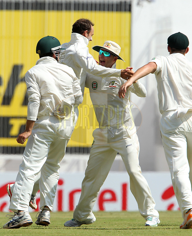 Nathan Lyon of Australia celebrates the wicket of Sachin Tendulkar of India during day 3 of the 1st Airtel Test match between India and Australia at the M. A. Chidambaram Stadium in Chennai on the 24th February 2013..Photo by Ron Gaunt/BCCI//SPORTZPICS..Use of this image is subject to the terms and conditions as outlined by the BCCI. These terms can be found by following this link:..http://www.sportzpics.co.za/image/I0000SoRagM2cIEc