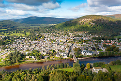 Aerial view from drone of village of Ballater on  River Dee on Deeside, Aberdeenshire, Scotland, UK