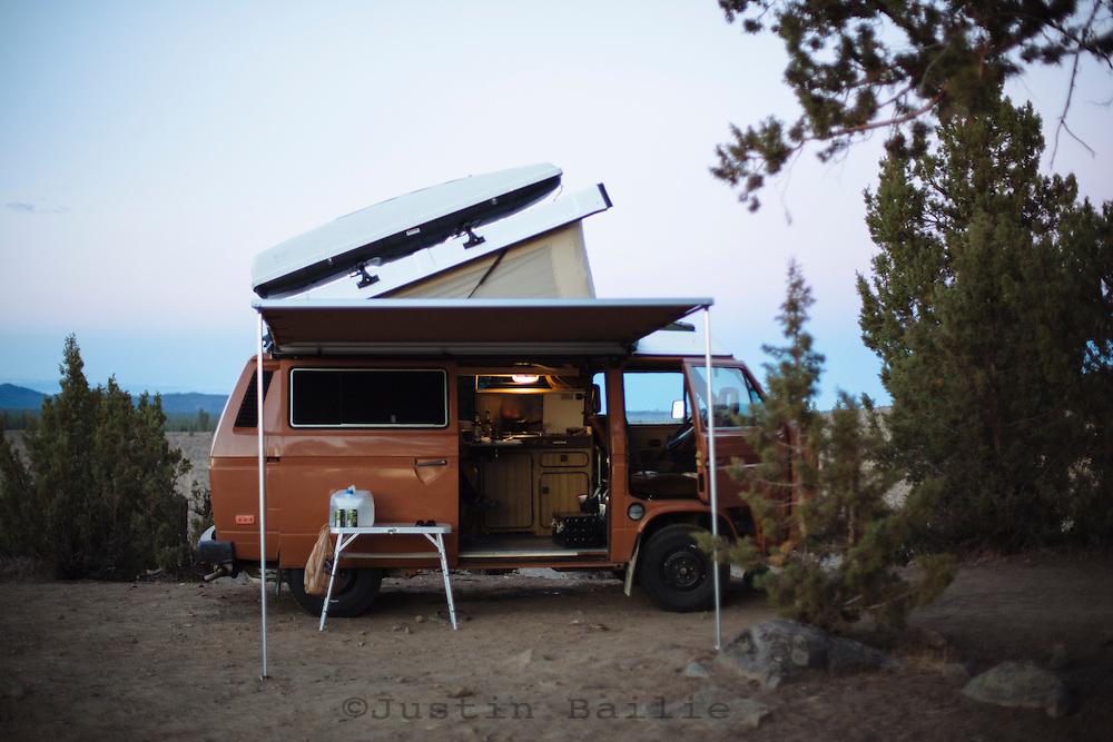 Van camping near Bend, Oregon.