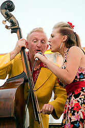Double Bass Ken Smith with Lil' Miss Hayley..9 September 2012.Image © Paul David Drabble