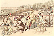 Mother and her children and the family's pet St Bernard dog relaxing on the Terrasse de Saint-Germain, Paris, France, inl ilac time.  From 'Paris Brillant' by 'Mars' (Maurice Bonvoisin - 1849-1912) (Paris, c1890). Lithograph.