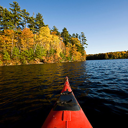 Canoe on the Saco River in Hollis, Maine.