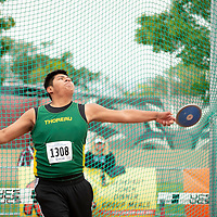In the final, Thoreau Hawks junior Deshaun Garcia sends the discus in flight to win the NMMA 2A Boys State Championship in Albuquerque on Friday.