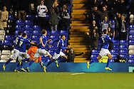 Birmingham City players chase after Birmingham City's Kyle Bartley ® after he scores their 2nd goal during the Skybet football league championship match, Birmingham city v Middlesbrough at St.Andrew's in Birmingham, England on Sat 7th Dec 2013. pic by Jeff Thomas/Andrew Orchard sports photography.