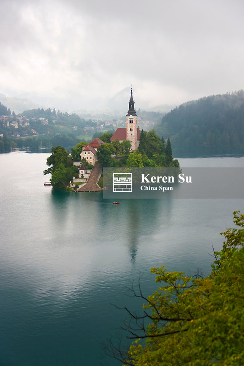 Church of the Assumption on the island in Lake Bled, Slovenia