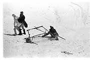 David Kirke, Eric and Graham Chapman,  Dangerous Sports club ski race, St. Moritz. 1985. © Copyright Photograph by Dafydd Jones 66 Stockwell Park Rd. London SW9 0DA Tel 020 7733 0108 www.dafjones.com