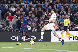 January 13, 2019 - Barcelona, Catalonia, Spain - FC Barcelona forward Ousmane Dembele (11) during the match FC Barcelona against Eibar, for the round 19 of the Liga Santander, played at Camp Nou  on 13th January 2019 in Barcelona, Spain. (Credit Image: © Mikel Trigueros/NurPhoto via ZUMA Press)