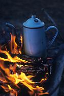 Coffee pot over an open fire