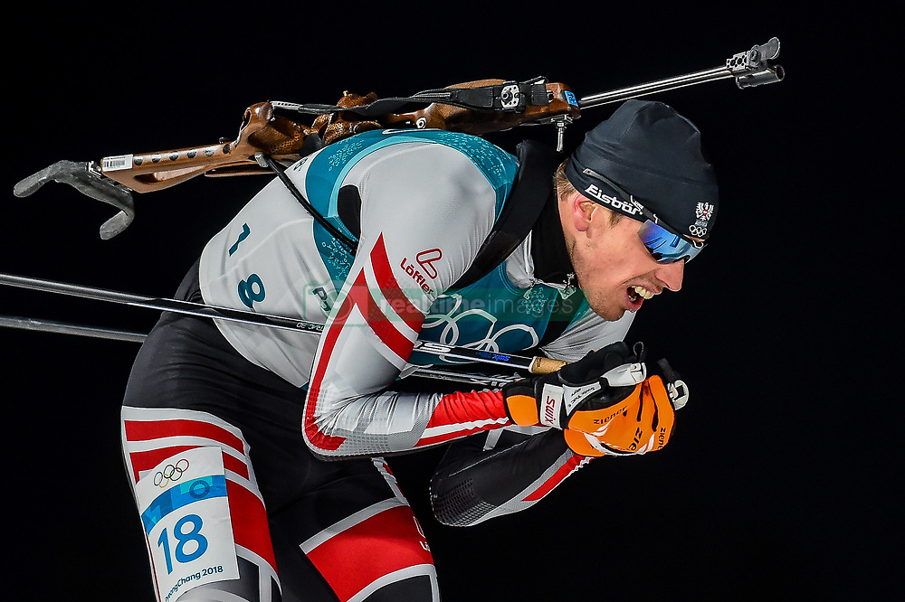 February 18, 2018 - Pyeongchang, Gangwon, South Korea - Julian Eberhard of Austria competing in  15 km mass start biathlon at Alpensia Biathlon Centre, Pyeongchang,  South Korea on February 18, 2018. (Credit Image: © Ulrik Pedersen/NurPhoto via ZUMA Press)