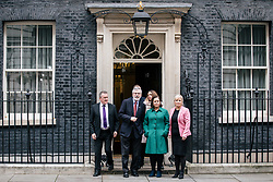 © Licensed to London News Pictures. 21/11/2017. London, UK. Sinn Fein Leader GERRY ADAMS (2-L) leaves 10 Downing Street with a delegation from Sinn Fein after meeting with Prime Minister Theresa May. Photo credit: Rob Pinney/LNP
