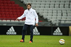 KAZAN, RUSSIA - Wednesday, November 4, 2015: Liverpool's Joe Allen training at the Kazan Arena ahead of the UEFA Europa League Group Stage Group B match against FC Rubin Kazan. (Pic by Oleg Nikishin/Propaganda)