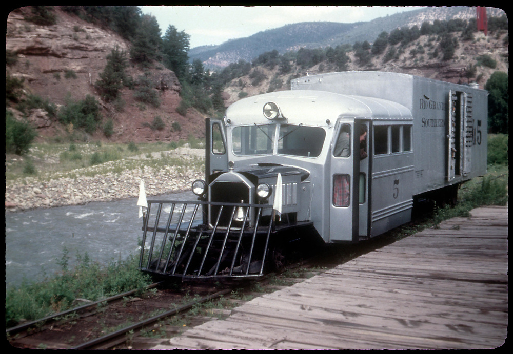 """RGS Goose #5 southbound at Placerville station platform.<br /> RGS  Placerville, CO  Taken by Kindig, Richard H. - 7/13/1946<br /> In book """"Tin Feathers, Wooden Trestles and Iron Men"""" page 94<br /> Also at RDS079-132.<br /> Thanks to Don Bergman for additional information."""