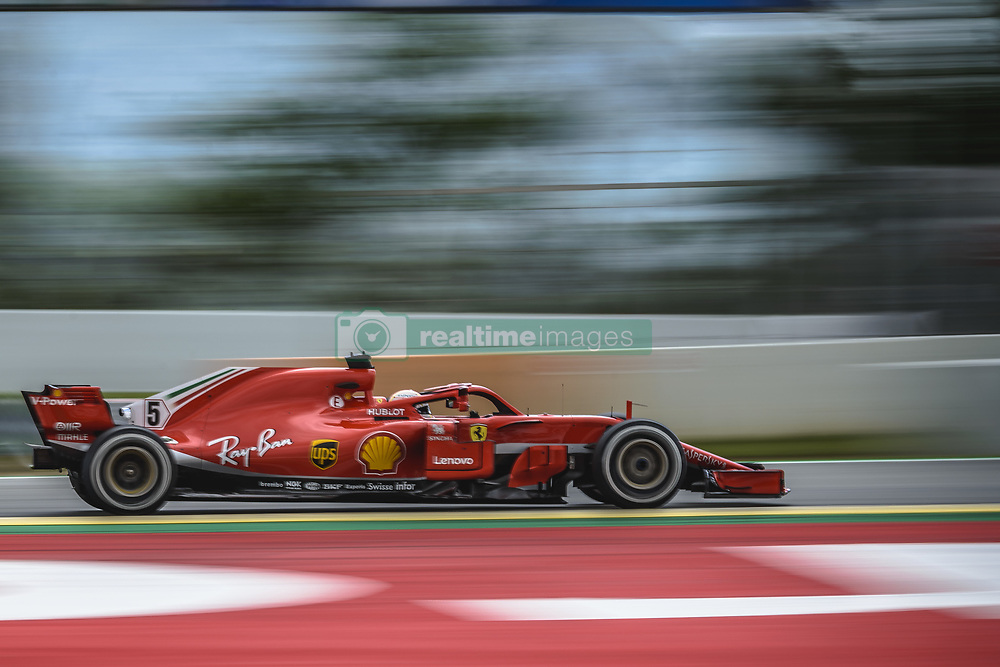 May 13, 2018 - Barcelona, Catalonia, Spain - SEBASTIAN VETTEL (GER) drives during the Spanish GP at Circuit de Barcelona - Catalunya in his Ferrari SF-71H (Credit Image: © Matthias Oesterle via ZUMA Wire)