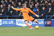 AFC Wimbledon goalkeeper George Long (1) clearing the ball during the EFL Sky Bet League 1 match between AFC Wimbledon and Northampton Town at the Cherry Red Records Stadium, Kingston, England on 10 February 2018. Picture by Matthew Redman.