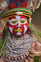 A woman from Western Highlands Province in ceremonial dress. Mount Hagen, Western Highlands Province, Papua New Guinea.