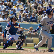 Aug 28 2016 - Los Angeles U.S. CA - Chicago Cubs 2B # 18 Ben Zobrist pop up a fly ball in center field during MLB game between LA Dodgers and the Chicago Cubs 1-0 lost at Dodgers Stadium Los Angeles Calif. Thurman James / CSM