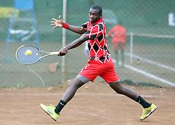 Ismael Mzai Changawa of Kenya returns a serve to Ivan Mamata from Democratic Republic of Congo during their 14th African Nationas Cup (CAN) 2016 at Nairobi Club on November 8, 2016. Mzai won 6-3,7-6 (5). Photo/Fredrick Onyango/www.pic-centre.com (KEN)