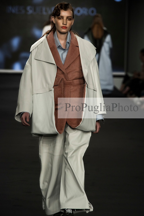 Istituto Marangoni students debut at the national fashion show at graduate fashion week. <br /> <br /> Graduate Fashion Week (GFW) in London, one of the most important events of the year for fashion students, lovers and professionals, opens its door again at The Old Truman Brewery in the heart of East London and Istituto Marangoni will spot its most talented students, the new generation of fashion designers.<br /> <br /> On June 5, The Old Truman Brewery in the heart of East London hosted the annual Fashion Show of Istituto Marangoni The London School of Fashion.<br /> <br /> The event saw fifteen graduates presenting on the catwalk seven menswear and eight womenswear collections: a highly coveted occasion to be introduced to the international audience of the Graduate Fashion Week, celebrating this year its 25th anniversary.<br /> <br /> Best designer: Inés Suelves Osorio. In her collection the traditional Japanese aesthetic mixes with a style inspired by the 60's mods and rockers. Pink color, patches and zips are the key elements of her outfits.