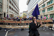 Feminists join thousands of people attending a Kill The Bill demonstration as part of a National Day of Action to mark International Workers Day on 1st May 2021 in London, United Kingdom. Nationwide protests have been organised against the Police, Crime, Sentencing and Courts Bill 2021, which would grant the police a range of new discretionary powers to shut down protests.