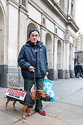 January 31, 2020, London, England, United Kingdom: A Brexit supporter celebrate along with his Dog in London, Friday, Jan. 31, 2020. Britain officially leaves the European Union on Friday after a debilitating political period that has bitterly divided the nation since the 2016 Brexit referendum. (Credit Image: © Vedat Xhymshiti/ZUMA Wire)
