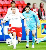 Fotball , <br /> Tippeligaen Eliteserien , <br /> 21.04.08 , <br /> Fredrikstad stadion , <br /> Fredrikstad FFK - Bodø/Glimt , <br /> Raymond Kvisvik , <br /> Mounir Hamoud , <br /> Foto: Thomas Andersen / Digitalsport