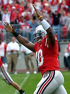 MORNING JOURNAL/DAVID RICHARD.Quarterback Troy Smith celebrates a rushing touchdown by Antonio Pittman yesterday in the fourth quarter.