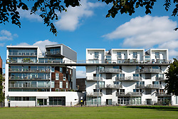 Modern apartment block on Greendyke Street overlooking Glasgow Green park in East End of Glasgow, Scotland,UK.