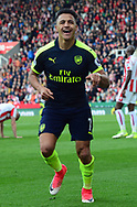 Alexis Sanchez of Arsenal celebrates after he scores his teams 3rd goal. Premier league match, Stoke City v Arsenal at the Bet365 Stadium in Stoke on Trent, Staffs on Saturday 13th May 2017.<br /> pic by Bradley Collyer, Andrew Orchard sports photography.