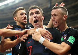 July 11, 2018 - Moscow, Russia - MARIO MANDZUKIC (C) of Croatia celebrates scoring with teammates during the 2018 FIFA World Cup semi-final match between England and Croatia in Moscow. (Credit Image: © Cao Can/Xinhua via ZUMA Wire)