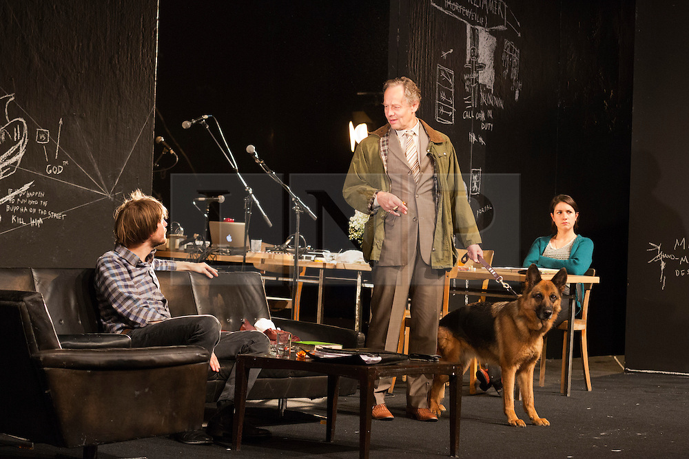 "© Licensed to London News Pictures. 24/09/2014. London, England. L-R: Christoph Gawenda as Dr Stockmann, Thomas Bading as Morten Kiil and Eva Meckbach as Mrs Stockmann. German theatre company Schaubühne Berlin present an adaptation of ""An Enemy of the People"" by Henrik Ibsen at the Barbican Theatre, Barbican Centre, from 24-28 September 2014. The play is directed by Thomas Ostermeier and part of the International Ibsen Season. Photo credit: Bettina Strenske/LNP"