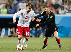 July 1, 2018 - Nizhny Novgorod, Russia - Mateo Kovacic (R) of Croatia national team and Lasse Schone of Denmark national team vie for the ball during the 2018 FIFA World Cup Russia Round of 16 match between Croatia and Denmark on July 1, 2018 at Nizhny Novgorod Stadium in Nizhny Novgorod, Russia. (Credit Image: © Mike Kireev/NurPhoto via ZUMA Press)