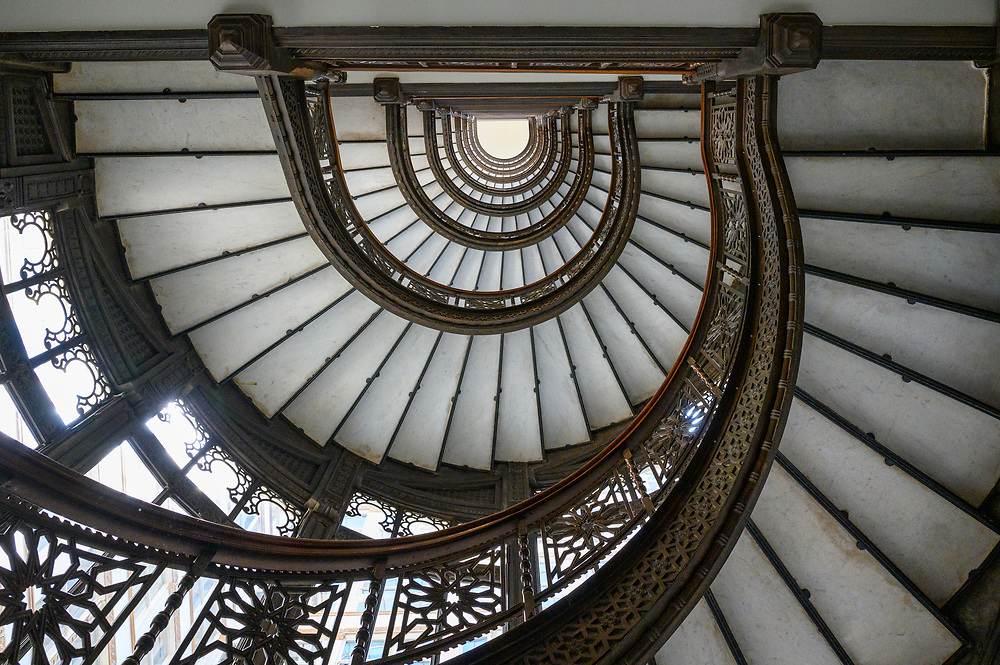 A stairway in Chicago's Rookery Building creates an interesting abstract view.