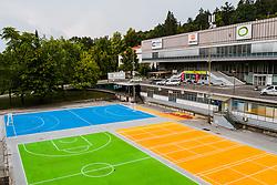 Overview of sports field outside of Hala Tivoli after reconstruction of Arena Tivoli, on August 14, 2020 in Hala Tivoli, Ljubljana, Slovenia. Photo by Matic Klansek Velej / Sportida
