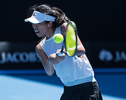 MELBOURNE, Jan. 22, 2018  Hsieh Su-wei of Chinese Taipei hits a return during the women's singles fourth round match against Angelique Kerber of Germany at Australian Open 2018 in Melbourne, Australia, Jan. 22, 2018. Kerber won 2-1. (Credit Image: © Zhu Hongye/Xinhua via ZUMA Wire)